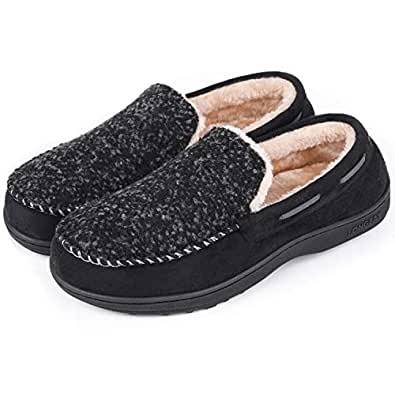 LongBay Men's Wool Moccasin Slippers Micro Suede House Shoes Comfort Memory Foam Indoor Outdoor(Small / 8 B(M) US, Black)
