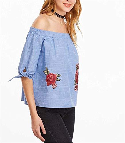 Off Femme Jeune Fille Shoulder Blouse Elgante Rose Carmen Manches Loisir Bild Shirts Fleurs 3 Et Haut Tops Chic Blouse Mode Brode 4 Bouffant Oxd6RwO