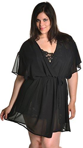 Women's Super Plus Size Chiffon Short Wrap Robe #3073xx (XX-O/S, Black) (Shirley Robe Chiffon)