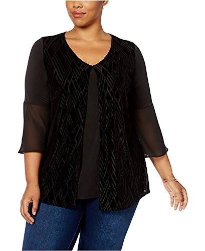 NY Collection Plus Size Velvet Burnout Top (2X-Large) ()