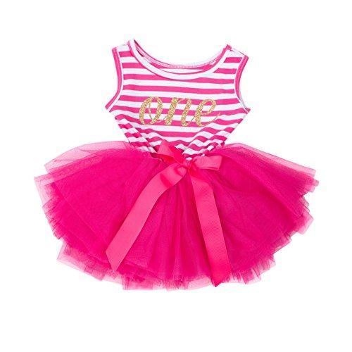 Grace & Lucille Magenta Stripe Sleeveless Baby Birthday Dress (Gold, 12-24 (Grace Stripe)