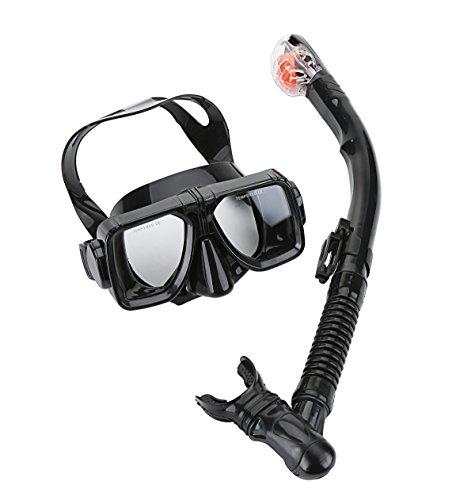 [Cpsports Scuba Diving Snorkeling Freediving Mask Snorkel Set for Adult (black)] (Black Masks For Sale)
