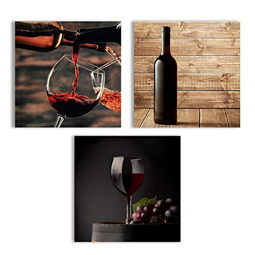 Abstract Vintage Wine Cup Pictures Home Wall for Kitchen Streched and Framed x3 Panels