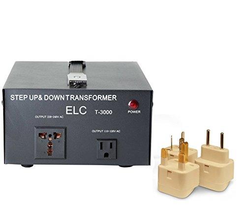 3000 Watt Best International Power Voltage Converter Transformer - Step Up/Down - 110V/220V - With Worldwide UK/US/AU/EU European Plug Adapter - 2 Outlets (Uk Voltage Transformer)