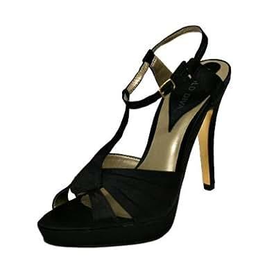 Black Satin Womens Strappy Evening High Heel Sandals Size 6