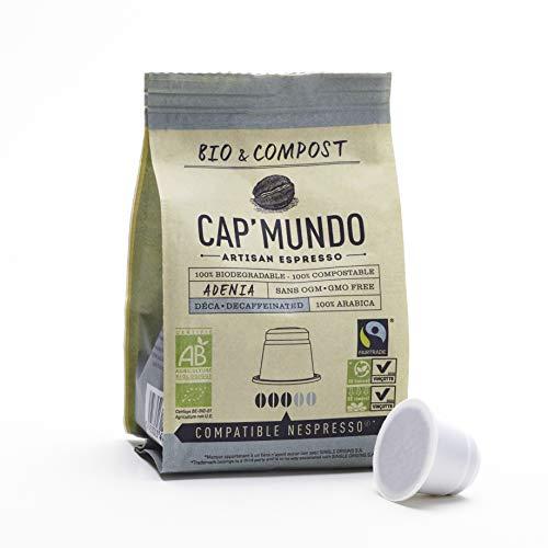 Organic and Compostable Decaf Nespresso Compatible BPA-free Coffee Capsules, 100% Arabica and Fair Trade (Decaf Adenia, 50 Capsules)