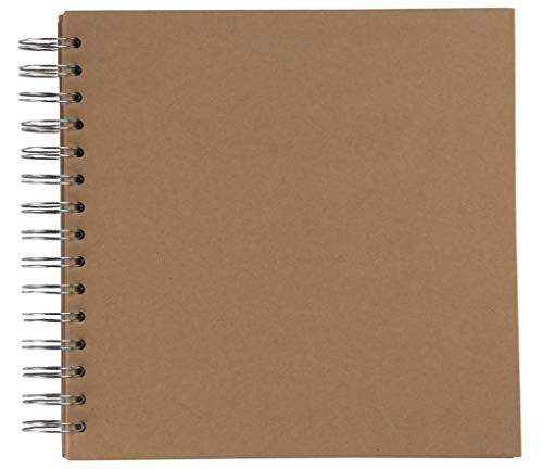 Hardcover Scrapbook - Blank Wedding Guest Book, Photo Album, Square Spiral Bound Cardboard Cover Sketchbook for Kids DIY Craft, Diary Journal, Kraft Brown, 40 Sheets, 8 x 8 Inches