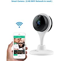 MiSafes 1080p HD Night Vision Remote Surveillance Smart Wi-Fi Security Camera with 2-way Audio for Smart phones (White)