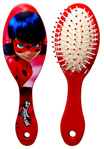Miraculous Ladybug,Soft Hairbrush,Compact Hairbrush+Mirror,official Licensed (Red Ladybug Brush) ()