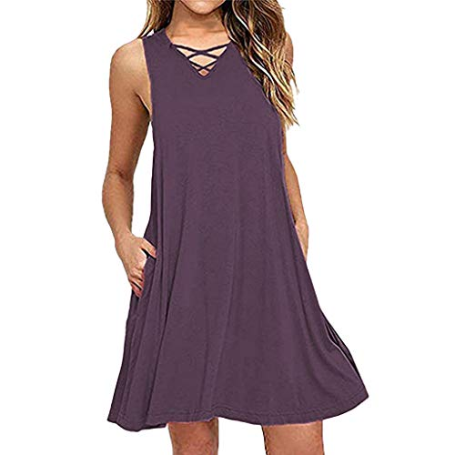 Yxiudeyyr Womens Casual Sleeveless V Neck Lace Up Criss Cross Swing T-Shirt Dresses with Pockets Purple