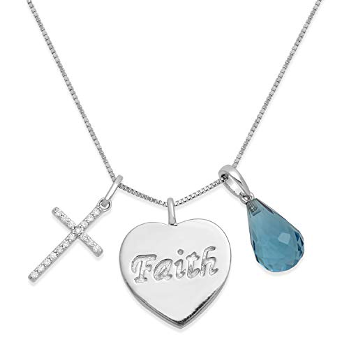(Jewelili Sterling Silver 12x8mm Briolette Blue Topaz with Dangling Heart and Cubic Zirconia Cross Charm Pendant Necklace, 18