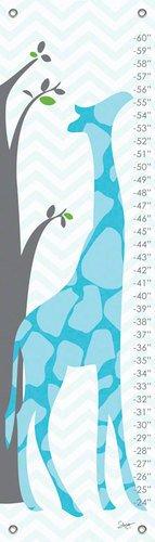 12 by 42-Inch NB1404 Oopsy Daisy Fine Art for Kids Modern Giraffe Blue Growth Chart by Stacy Amoo-Mensah