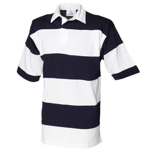 Front Row Sewn Stripe Short Sleeve Rugby Sports Polo Shirt (XL) (White/Navy (White collar)) (Sewn Stripe Rugby Shirt)