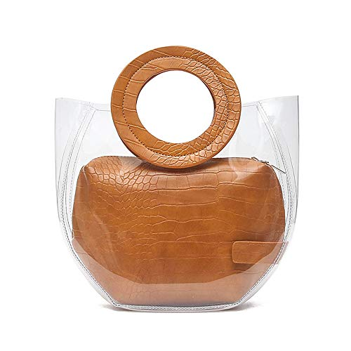 Barabum Stylish Classy Waterprof Clear Tote Beach Shoulder Crossbody Handle Bag (A Small-Brown)