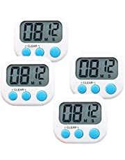 4-Pack Small Digital Kitchen Timer Food Timer, Big Digits Loud Alarm Magnetic Backing Stand with Large LCD Display for Cooking Baking Sports Games Office