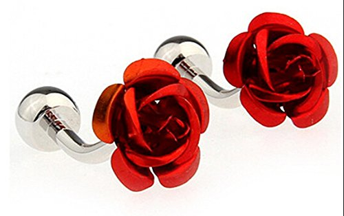 Rose Cufflinks Plating White Steel Fashion Men's Cufflinks Elegant Roses Flowers Gift Presents (Rose White Cufflinks)