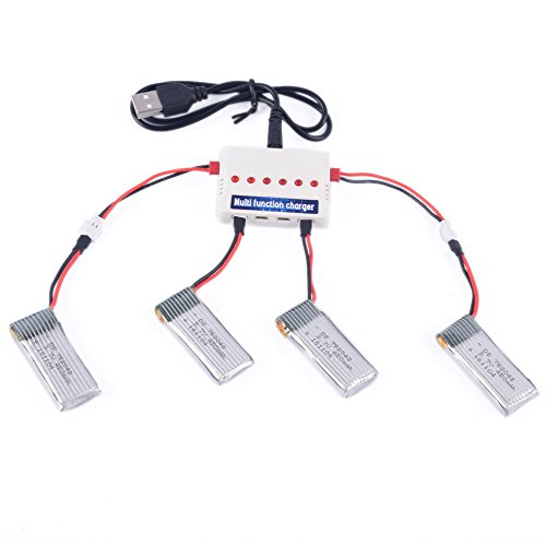 YouCute 4pcs 450mAh Battery and 1to6 Charger for T5G T5W JJRC H29G H29W Focus FPV and Hornet FPV Drone Transmitter RC Quadcopter Drone Spare Parts