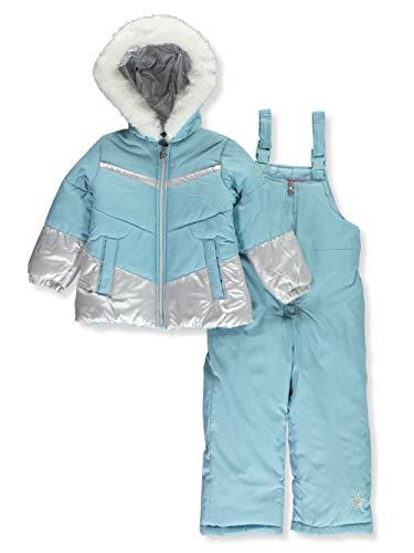 London Fog Girls' Toddler Snowsuit with Snowbib and Puffer Jacket, September Sky Foil, 2T
