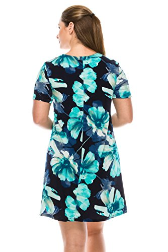 Women's Print Stretchy Sleeve Short Missy Jostar W050 Turquoise Dress q4O6Cxd