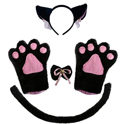 BOMPOW Cat Ear Cosplay Cat Tail Bell Hairclip with Paw Bow Tie Costume Party Decoration Set 5 Pack -