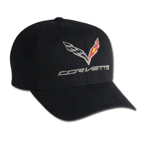 C7 Corvette Logo Flex Fit Pro Performance Fitted Cap : Black (Large - X-Large)