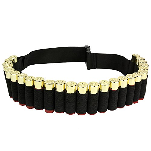 [140*5CM Outdoor Airsoft Hunting Tactical 25 Shotgun Shell Bandolier Belt 12 Gauge Ammo Holder Military Shotgun Cartridge Belt] (Bandolier Belt)