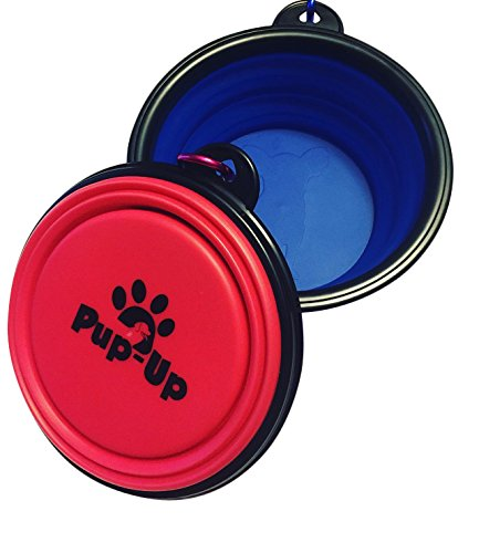Pup-Up Collapsible Dog Bowl Travel Pets- Dog Pop Up Silicon Foldable Expandable Portable Travel Food Water Feeder Bowl with Carabiner Clip - Set of 2