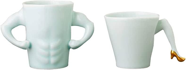 Tazas de cerámica para pareja, tazas de café blancas avanzadas, músculos y tacones altos 2 paquetes, regalos creativos para bodas, 10-15 oz, hechos a mano originales, para el hogar y la cocina: