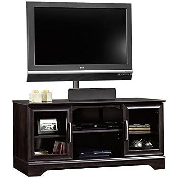 sauder panel tv stand with post mount estate black kitchen dining. Black Bedroom Furniture Sets. Home Design Ideas