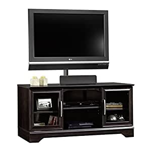 tv stand black sauder panel tv stand with post mount estate 29293