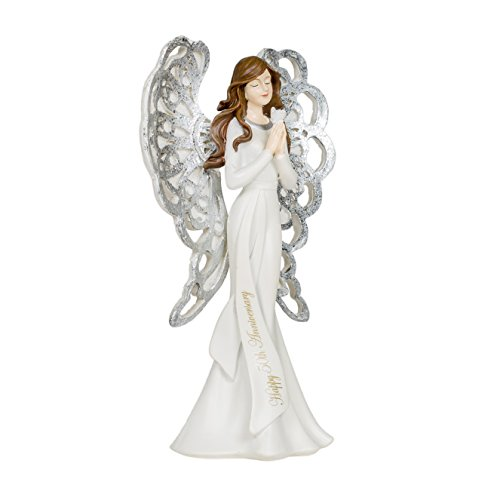 Happy 50th Anniversary Metallic Cut-out Angel Wings 7 inch Resin Stone Table Top Figurine