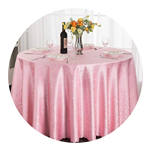 1pcs 63inch/108 inch/118 inch/132 inch Polyester Hotel Jacquard Round Tablecloth for Wedding Party Decorations,Pink,102 inch