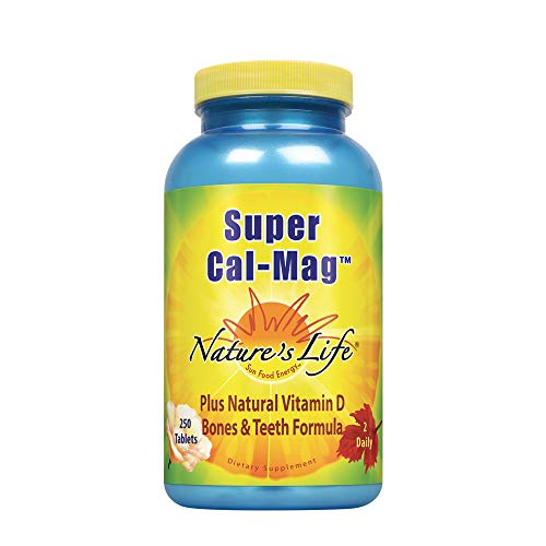 Nature's Life Super Cal Mag 1000mg of Calcium & 500mg of Magnesium with Vitamin D-2 ,250 Vegetarian Tablets