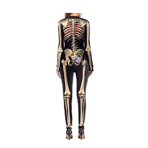 la del traje las de lujo Traje B de de Huesos la esqueleto de del mujeres muchacha de total impresión del 3D Traje Traje de mono de piel Vestido la M S Cosplay Halloween X6WWFq