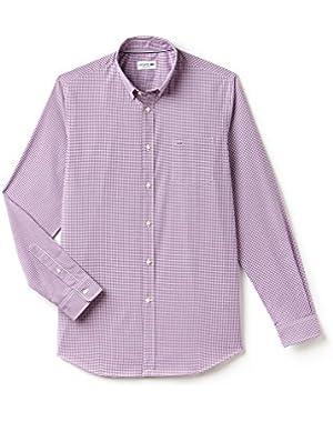 Lacoste Men's Men's Purple Gingham Shirt in Size 42-L Purple