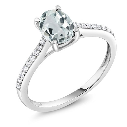 Gem Stone King 10K White Gold Sky Blue Aquamarine and Diamond Engagement Solitaire Ring 1.20 Center Stone:8x6mm Oval (Size 5)