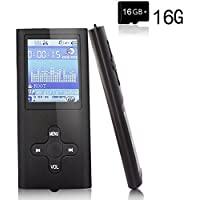 "MP3 Player,EVASA with a 16 GB Micro SD card Portable Digital Music Player/Video/Media Player/FM Radio/E-Book Reader,Ultra Slim 1.8"" LCD Screen"