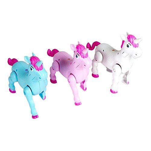 - Set of 3 Prancing Magical Unicorns with Sound 7 Inch Toys, Pink White and Blue