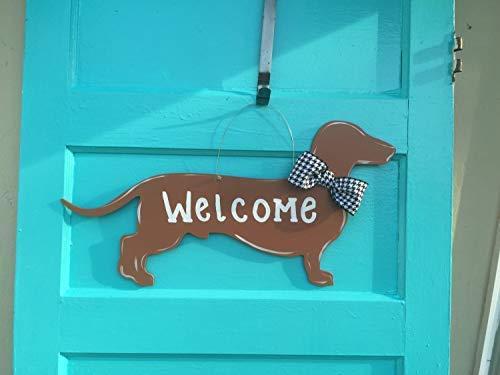 (weewen Dachshund Door Hanger Dog Door Hanger Welcome Sign Wooden Plaque Sign Distressed Home Decoration Wall Sign)