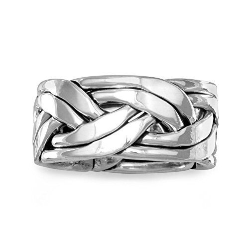 Weaved Together Braided Mens Band Ring Sterling Silver, 10