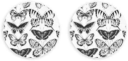 Siluetas negras sin costuras mariposas en abridor de botellas de metal 2 piezas abridor de botellas magnético nevera sacacorchos