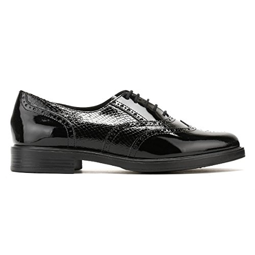 Glazed Python Femmes Cuir Lacets Noir Chaussures London Tower xBnCC