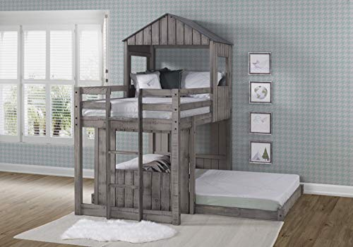 DONCO 3344-TFRDG Twin Over Full Campsite Loft BUNKBED Rustic Dirty Grey