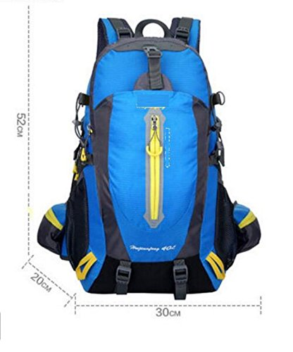 LQABW Los Hombres De Hombro Montañismo Montar Viaje Y Mujeres Caminando Tela Impermeable Oxford Camping 40L Mochila De Senderismo,Black Blue