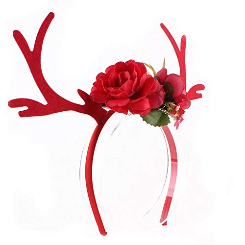 Funny Deer Antler Headband with Flowers Blossom Novelty Party Hair Band Head Band Christmas Fancy Dress Costumes Accessory ()