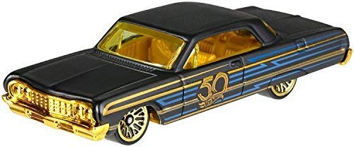 Hot Wheels 50th Anniversary Black & Gold Series Special Edition Collectible Die Cast Cars ('64 Impala 5/6)