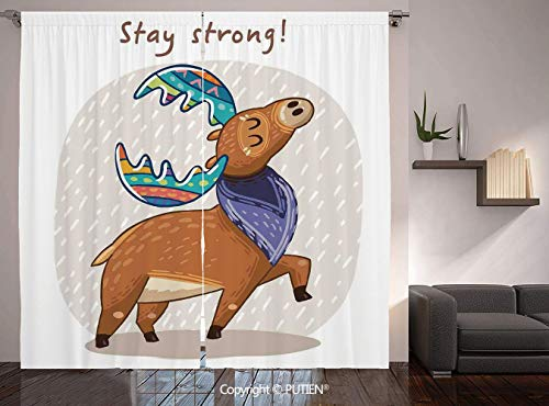 Thermal Insulated Blackout Window Curtain [ Moose,Deer with Scarf and Rainbow Retro Antler Horns Quote Stay Strong Rain Design Bohem,Multicolor ] for Living Room Bedroom Dorm Room Classroom Kitchen Ca
