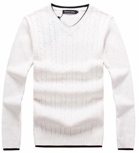 Con Cavo Torsione Maniche Pullover Bianco Maglia Scollo Maglione A uk Lunghe Mens Fit Sottile V Oggi 0nxSYw8qT4