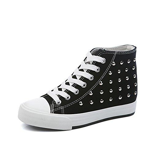 zapatos de lona de mujeres/Otoño punk remache zapatos mujer alta/Mayor sigilo zapatos D
