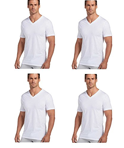 Jockey Mens V-Neck T-Shirts Classic Tag Free Cotton - Stay New Technology Stay White (White, - V-neck Jockey Classic Tee